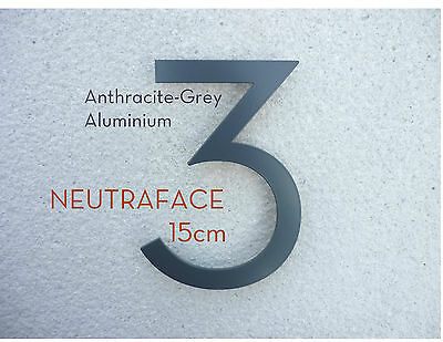 NEUTRAFACE Anthracite Aluminium House Numbers - 15cm -  FAST, FREE UK DELIVERY