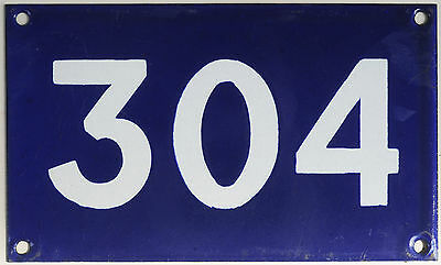 Old Australian used house number 304. door gate enamel metal sign in French blue