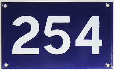 Old Australian used house number 254 door gate enamel metal sign in French blue