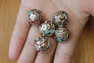 5 PCS Nepal Brass Turquoise Coral Round Vintage Flower Ball Beads  (18000079)