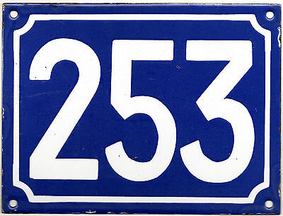 Large old French house number 253 door gate plate plaque enamel steel metal sign
