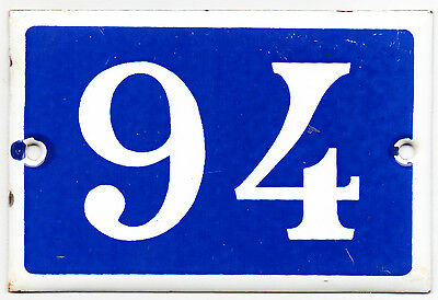 Old blue French house number 94 door gate plate plaque enamel steel metal sign