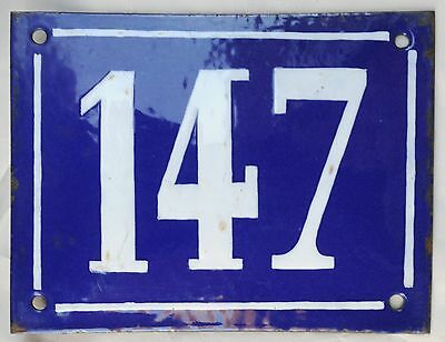 Large old French house number door gate plate plaque enamel steel metal sign 147