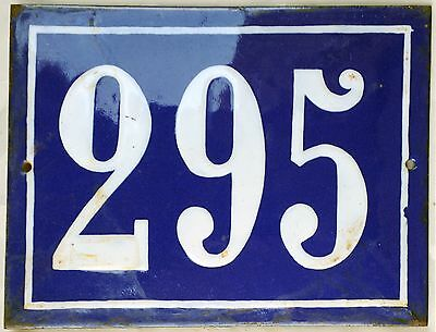 Large old French house number 295 door gate plate plaque enamel steel metal sign