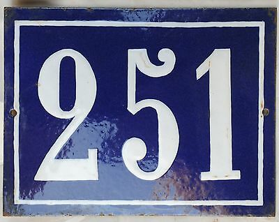 Large old French house number door gate plate plaque enamel steel metal sign 251