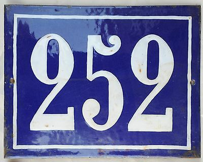 Large old French house number door gate plate plaque enamel steel metal sign 252