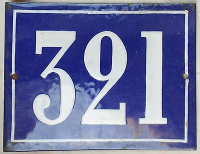 Large old French house number door gate plate plaque enamel steel metal sign 321