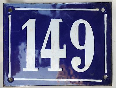 Large old French house number door gate plate plaque enamel steel metal sign 149
