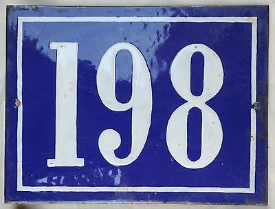 Large old French house number 198 door gate plate plaque enamel steel metal sign
