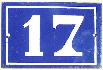 Old blue French house number 17 enamel porcelain metal building door sign plate