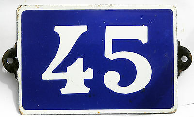Old blue French house number door gate plate plaque enamel steel metal sign 45