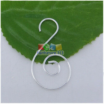 20 pcs Silver Plated Swirl Scroll Wire Christmas Tree Ornament Hook Hanger 1.45""