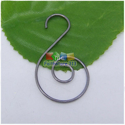 100 pcs Black Plated Swirl Scroll Wire Christmas Tree Ornament Hook Hanger 1.45""