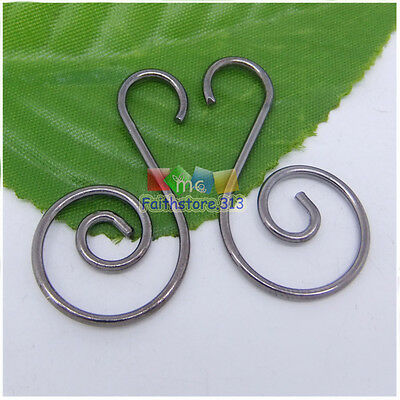 20 pcs Strong Black Plated Swirl Scroll Wire Christmas Tree Ornament Hook 1.45""
