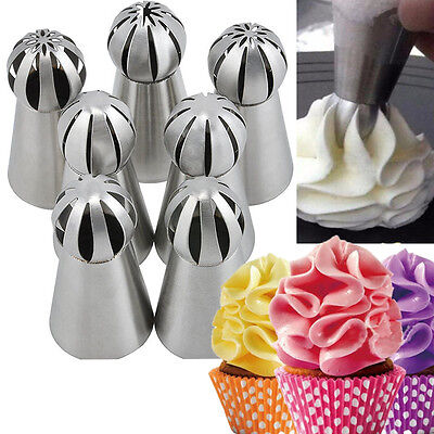 7pcs Sphere Ball Russian DIY Pastry Cake Icing Piping Decor Nozzles Tips Tool