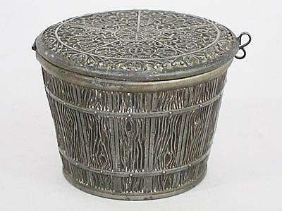 ORNATE ANTIQUE PEWTER TRINKET BOX 1900 MODELED as WOODEN BUCKET TUB 1900 sewing