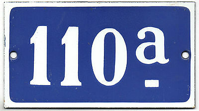Old blue French house number 110 A door gate plate plaque enamel steel sign