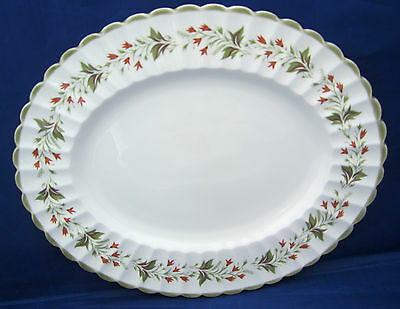 """13"""" Oval Platter Susie Cooper CHATSWORTH Scalloped Rust Green Flowers Very Good"""