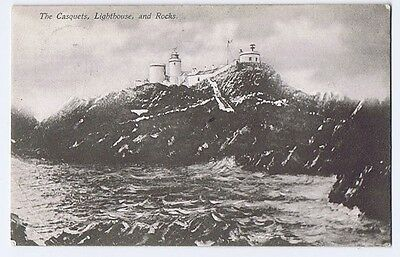 ALDERNEY Casquets Lighthouse & Rocks, Old Postcard Posted 1907 Woodbury Series