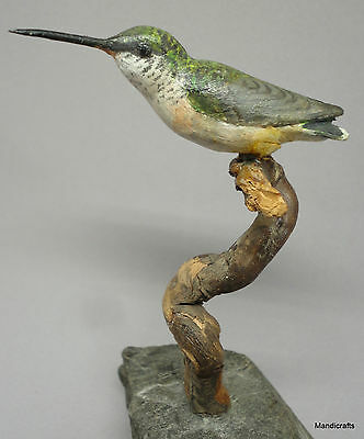"Hummingbird Sculpture Mounted nat Rock signed WA Eakins Canada c1980s 6"" Label"