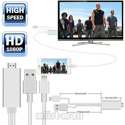 8Pin Lightning Digital AV Adapter HDMI Cable 2M TV Lead for iPhone 6s Plus 5s SE
