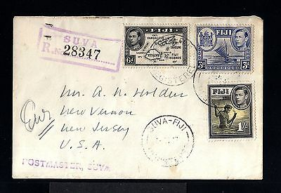 10159-FIJI ISLANDS-REGISTERED COVER SUVA to NEW JERSEY (usa)1947.British.