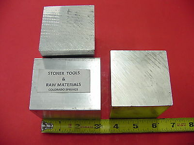 """3 Pieces 2-1/2"""" X 2-1/2"""" ALUMINUM 6061 SQUARE SOLID BAR 3"""" long T6511 Mill Stock"""