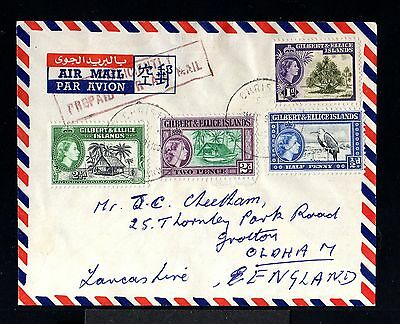 10170-GILBERT & ELLICE-AIRMAIL COVER CHRISTIANS to OLDHAM (england))1959.British