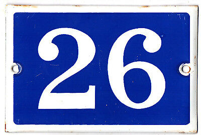 Old blue French house number 26 door gate plate plaque enamel steel metal sign