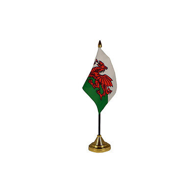 Wales Table Desk Flag - 10 x 15 cm National Country Hand Red Dragon Euro 2016