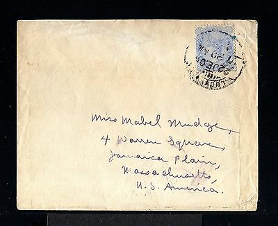 10136-INDIA-OLD COVER LUCKNOW to MASSACHUSETTS (usa) 1905.BRITISH Inde.