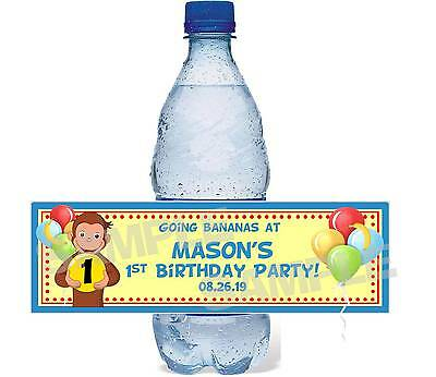 Personalized CURIOUS GEORGE 1ST FIRST Birthday Party water bottle label wrappers