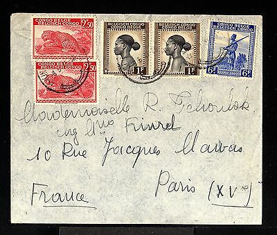 10214-BELGIAN CONGO-AIRMAIL COVER KINHASA to PARIS(france) 1947.WWII.Congo belge