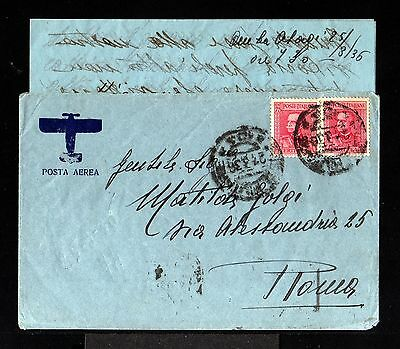 10145-ERITREA-AIRMAIL MILITARY COVER OLADI to ROMA (italy).1936.WWII.With LETTER