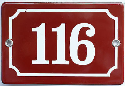 Brown French house number 116 door gate plate plaque enamel steel metal sign