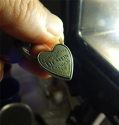 Antique Heart Shaped Key Ring Medical Advertisement Desitin Chemical Company