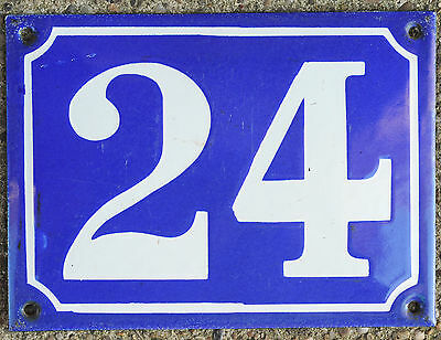 Large old French house number 24 door gate plate plaque enamel steel metal sign