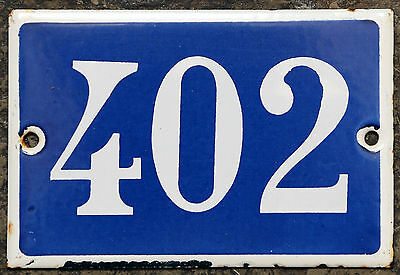 Old French house number 402 door gate plate plaque enamel steel metal sign