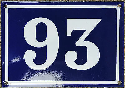 Large old blue French house number 93 door gate plate plaque enamel steel sign