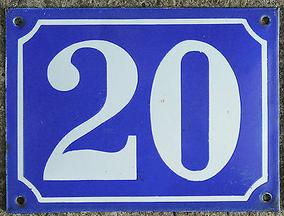 Large old French house number 20 door gate plate plaque enamel steel metal sign