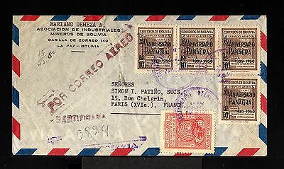 10124-BOLIVIA-AIRMAIL REGISTERED COVER LA PAZ to PARIS (france) 1951.Aereo.