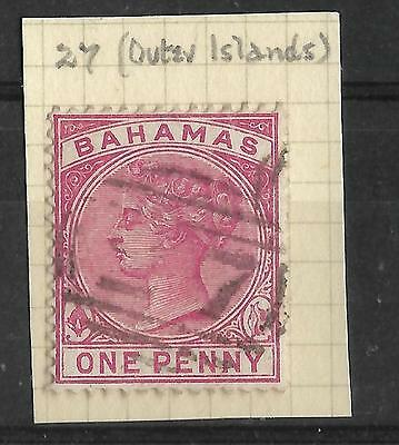 BAHAMAS, QV 1d, WITH 27 NUMERICAL CANCEL, OUTER ISLANDS.