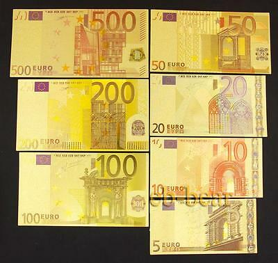 Lot 10 Sets 70 Pcs Euro Color Gold Banknote Notes Unusual Beautifully Crafts New