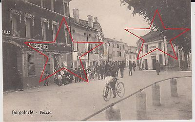 Borgoforte Mantova Albergo E Piazza Animata 1915 Super !