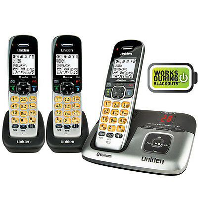 Uniden PREMIUM DECT 6.0 BLUETOOTH CORDLESS PHONE SYSTEM with 2 EXTRA HANDSETS