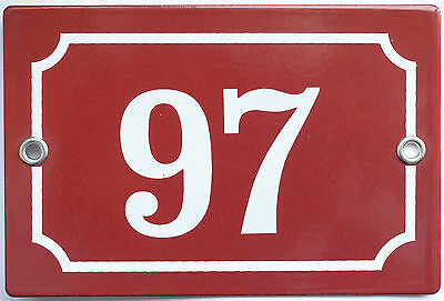 Brown French house number 97 door gate plate plaque enamel steel metal sign