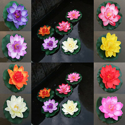 Hot Fake Water Lily Floating Flower Lotus Home Yard Pond Fish Tank Decor 10cm