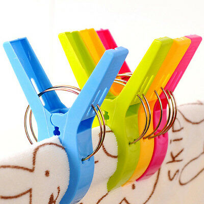 Utility 4Pcs Big Beach Towel Laundry Wash Hanging Clips Pegs Spring Clothes Pins