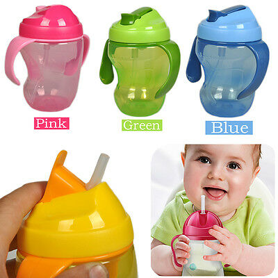 260ml Baby Cup Infant Learn Drinking Straw Handle Bottle Sippy Cup BPA Free New