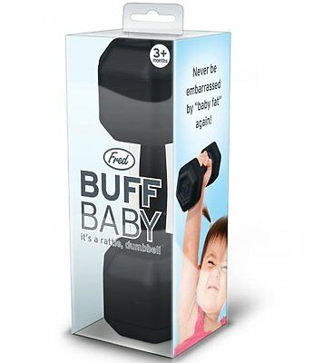 Fred BUFF BABY DUMBBELL RATTLE - Novelty Dumbbell Shaped Baby Toy 3+ mths BLACK